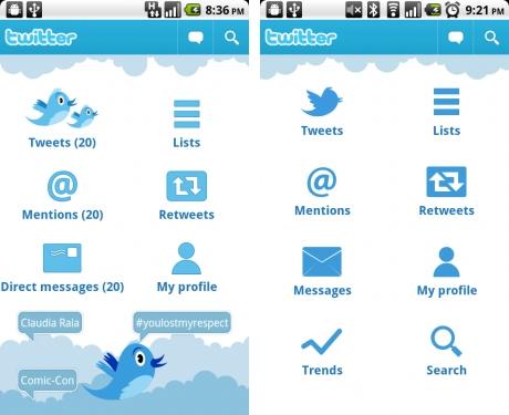 Новый Twitter для Android (было-стало)